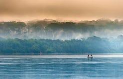 Sangha River. Morning fog on the African river Sangha. Stock Photo