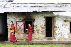 Sanghak Choeling修道院的,锡金,印度和尚 免版税库存照片