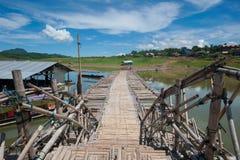 Sangkhla bridge. Bridge sangkhla sky view thailand Stock Image
