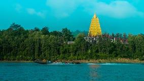 Sangkhlaburi. Landscape SpeedBoat Tample Royalty Free Stock Photo