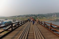 Mon Wooden Bridge - Sangkhlaburi Thailand royalty free stock image
