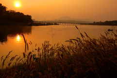 Sangkhlaburi, thailand. Sunset Songkalia river screen, thailand Royalty Free Stock Photo
