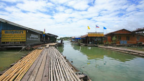 Bamboo footpath to wooden rafts at Sangklaburi Royalty Free Stock Photo