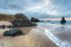 Dusk At Sango Bay. Sango Bay beach at Durness on the north coast of Scotland and part of the North Coast 500 tourist route Royalty Free Stock Image