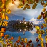 Sangrado, Eslovenia - la salida del sol hermosa del otoño en el lago sangró con la iglesia famosa del peregrinaje de la suposició Foto de archivo libre de regalías