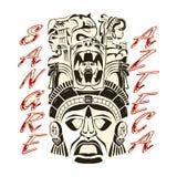 Sangre Azteca, azteka teksta azteka Krwionośnej Hiszpańskiej dumy wektorowy projekt, tatuaż inspiracja royalty ilustracja