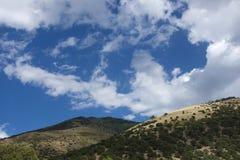 Sangre De Cristo High Desert Mountain Fields. A view of a rural dirt road in the Sangre De Cristo Mountains in the high arid desert of Colorado. Low shrub scrub Royalty Free Stock Photography