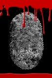 Sangre de la huella digital de la escena del crimen imagenes de archivo