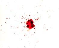 Sangre salpicada en el fondo blanco Imágenes de archivo libres de regalías