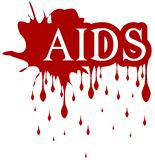 Sangre SIDA aislada del goteo de la palabra Imagen de archivo