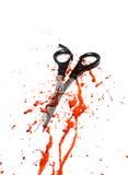 Sangre y tijeras del corte del pelo Fotos de archivo libres de regalías