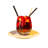 Sangria κρασί - διάτρηση φρούτων Στοκ Εικόνα