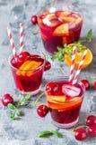Sangria алкогольного напитка лета холодный с свежими фруктами и ягодами Стоковые Изображения