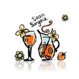 Sangria, питье испанского языка Эскиз для вашего дизайна иллюстрация штока
