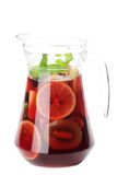 Sangria. Refreshing sangria (punch) isolated on white background stock photos