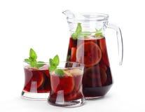 Sangria. Refreshing sangria (punch) on white background stock image