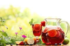 Sangria. Refreshing sangria (punch) with fruits royalty free stock images