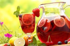 Sangria. Refreshing sangria (punch) with fruits,Closeup royalty free stock images