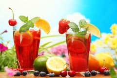 Sangria. Refreshing sangria (punch) with fruits stock photo