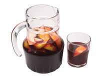 Sangria. (very popular spanish summer drink made of wine, lemon juice, soda and fruits stock image