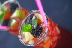 Sangria with apple, blackberries and mint Stock Photography