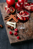 Sangria with apple and pomegranate Royalty Free Stock Photo