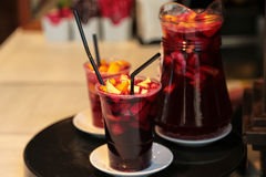 Sangria. Carafe with two glasses of stock image