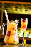 Sangria. Champagne sangria called tisana in a night summer pub Stock Photography