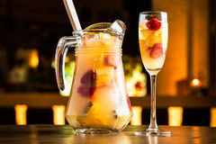 Sangria. Champagne sangria called tisana in a night summer pub royalty free stock photography