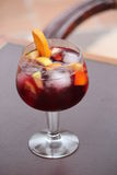 Sangria cocktail glass with fruit Royalty Free Stock Photography