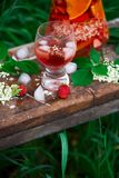 Sangria de fleur de sureau, de fraise et de vin rosé Image stock