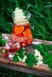 Sangria de fleur de sureau, de fraise et de vin rosé Photographie stock libre de droits