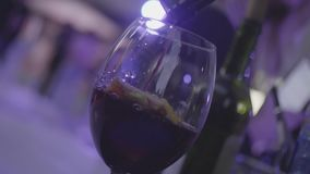 Sangria de refrescamento, perfurador com frutos e vinho tinto derramado no vidro no movimento lento Quadro Vidro com citrinas video estoque