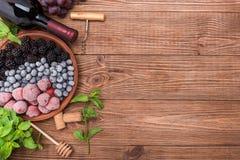 Sangria del vino rosso con le bacche fresche Fotografie Stock