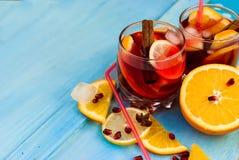Sangria di rinfresco della frutta Bevanda di estate Fotografia Stock