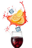 Sangria drink with ingridients isolated on white Royalty Free Stock Photo