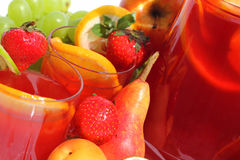 Sangria and fruits Stock Photography