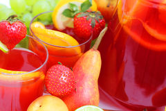 Sangria and fruits Stock Photo
