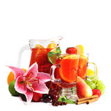 Sangria and fruits Royalty Free Stock Images