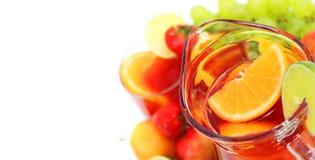 Sangria and fruits Stock Photos