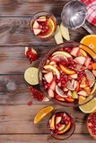 Sangria with fruits Royalty Free Stock Photos
