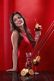 Sangria girl on red Royalty Free Stock Photos