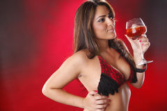 Sangria girl on red Stock Image