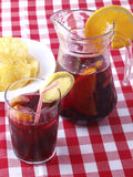 Sangria glass and pitcher Royalty Free Stock Photography