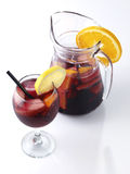 Sangria glass and pitcher Stock Photo