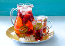 Sangria with ice. Fruit and berry summer sangria with ice stock photos