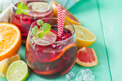 Sangria and ingredients in glasses Stock Image