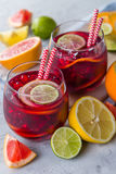 Sangria and ingredients in glasses Stock Images