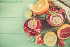 Sangria and ingredients in glasses Royalty Free Stock Photography