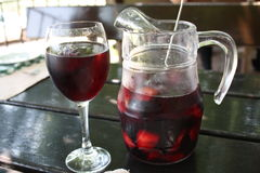 Sangria Lunch. This picture was taken during lunch at the base of Montserrat, Barcelona, Spain Stock Photography